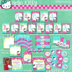 Printable PDF Hello Kitty Decorations www.mimisdollhouse.com/product/hello-kitty-party-printable-collection/