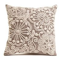 HAND-EMBROIDERED ACCENT PILLOW|UncommonGoods...If you don't do embroidering, sew on doilies from the dollar store.