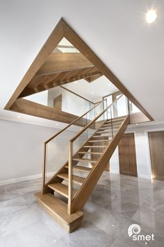 Oak and glass staircase This is one of our latest projects, two straight staircases in East Grinstead. The large windows, o Glass Stair Balustrade, Oak Handrail, Staircase Handrail, House Staircase, Oak Stairs, Open Staircase, Concrete Stairs, Spiral Staircases, Staircase Ideas