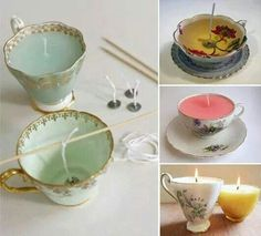 Old teacups into candles how-to