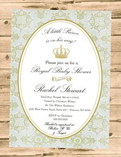 Royal Prince Baby Shower Invitation by PartyPrincipessa on Etsy, $13.00