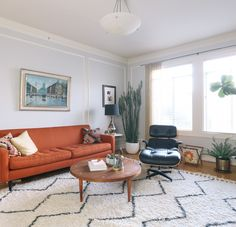 Weird Living Room Layout - A SpanishStyle Home in San Francisco That Balances Function and Beauty Orange Couch, Oranges Sofa, Living Room Decor, Living Spaces, Living Rooms, Spanish Style Homes, Mediterranean Home Decor, Living Room Inspiration, Dining Room Design
