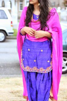 purple and hot pink punjabi suit Indian Fashion