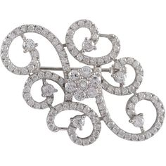 Luxiro Sterling Silver Cubic Zirconia Filigree Flower Swirl Pin Brooch (1 265 UAH) ❤ liked on Polyvore featuring jewelry, brooches, silver, cz jewellery, polish jewelry, cubic zirconia jewelry, pin brooch and cz jewelry