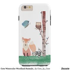 Cute Watercolor Woodland Animals Tree Butterfly Tough iPhone 6 Plus Case