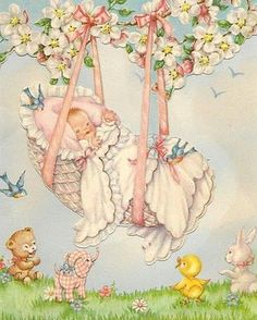 Vintage Baby Images ❤Welcome new baby. Images Vintage, Vintage Pictures, Vintage Greeting Cards, Vintage Postcards, Welcome New Baby, Art Carte, Rock A Bye Baby, Congratulations Baby, Old Cards