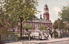 Leicester Town Hall, postcard view of c.1900. The Town Hall was built in 1874-76, designed by Francis John Hames.