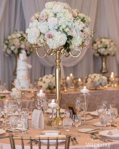 We can't get enough of this #rosequartz-toned wedding reception at One King West! | Photography By: Amsis Photography | WedLuxe Magazine | #WedLuxe #Wedding #luxury #weddinginspiration #luxurywedding #centerpiece #centrepiece #floral