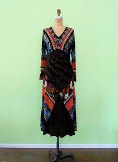Vintage 80s Gypsy Black Maxi Dress Patchwork Tribal by MetricMod, $26.00