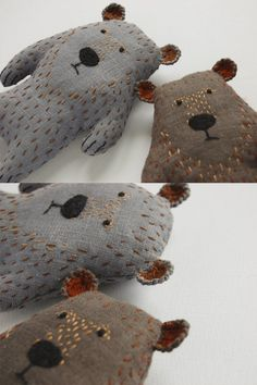 Gray bear is back in shop! I planned to make a bear, but Im not sure I succeeded. Sometimes it reminds of a dog or even a mouse. Anyway I tried to make him cute and funny, and I think I managed to do that.  Stefan the bear is available in both 1. light-grey and 2. dark-grey color - please, select one you love the best :)  The strange creature is made of gray linen, filled with synthetic stuffing and carefully embroidered by hand.  Approximate size of the bear (from paws to ears) is about 16…