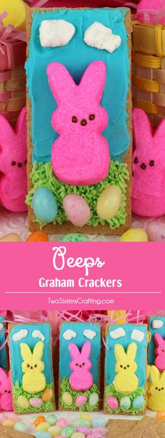 Peeps Graham Crackers - Grahams Crackers covered in yummy Buttercream Frosting, Peeps and Easter Candy make a fun and easy Easter activity for the kids.  Easter desserts never looks so cute or tasted so good.  The kids will beg you to make these colorful Easter Treats.  So grab the kids, a box of Graham Crackers and some peeps and let the fun begin! And don't forget to follow us for more fun Easter Food Ideas. #Peeps #EasterDesserts #EasterTreats #EasterCraft #EasterFood