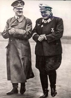 Adolf Hitler and Hermann Göring shortly before France surrenders to Germany in 1940