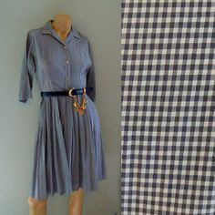 50s plaid dress . charcoal navy and white gingham . vintage rockabilly frock . pleated schoolgirl . small - buy it at www.nesteggvintage.etsy.com
