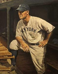 Baseball Art - Lou Gehrig by Ron Stark Baseball Star, Baseball Cards, Baseball Tickets, Angels Baseball, Cardinals Baseball, Football, Baseball Painting, Lou Gehrig, Willie Mays