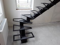 Timber Stair, Metal Stairs, Stair Detail, Contemporary Stairs, Wrought Iron Gates, Staircase Design, Metal Art, Bookcase, Shelves