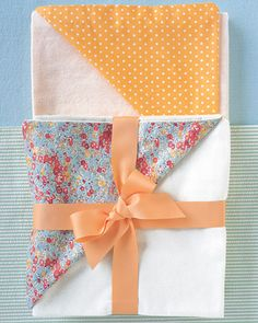 Give wonderful new purpose to pretty fabric remnants by turning them into blankets for a newborn.
