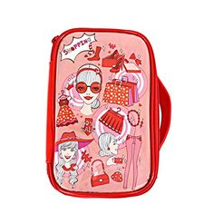 Cute Travel Cosmetic Beauty Makeup Bags Organizer Cases for Women Red -- Learn more by visiting the image link.