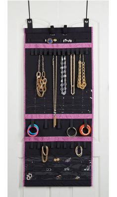 Store and organize your jewelry with a convenient over-the-door organizer.