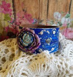 RoSe Patina Concho Leather Cuff Bracelet> #Blue #Purple #LeatherCuffBracelet #BohoJewelry #Romantic #VictorianWithATwist #FloralJewelry by BellaNotteDesigns on Etsy