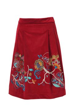 IVKO. Ultimate piece for winter, this cotton skirt with colorful embroidery offers a velvet-like posh, yet joyous look easy to fit in and make a statement in any wardrobe.