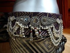 Black velvet and purple antique assuit Tribal fusion belly dance belt with mirrors, chains and bells..