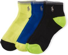 The sporty socks in this three-pack feature plenty of stretch and are finished with bold contrasting toes and heels. Each sock is accented with our signature embroidered pony. Ribbed cuffs. Our signature embroidered pony accents the outer side of each sock. 98% polyester. 2% spandex. Machine washable. Imported. Brand: Ralph Lauren Retailer: Ralph-Lauren Similar Item...  Price : 15.00$