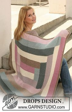 """Free pattern: Knitted DROPS blanket with stripes in """"Nepal"""". Design blanket Spring Connection / DROPS - Free knitting patterns by DROPS Design Afghan Crochet Patterns, Knitting Patterns Free, Free Knitting, Baby Knitting, Free Pattern, Finger Knitting, Scarf Patterns, Crochet Crafts, Knit Crochet"""