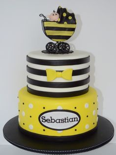 Baby Bee Baby Shower - This cake was for a bee themed baby shower.  Used cakes for inspiration by Sugar Sweet Cakes and Treats,  Dreas Dessert Factory, and unfortunately I am not sure the creator of the third cake, but I used inspiration from their design on the bottom tier.