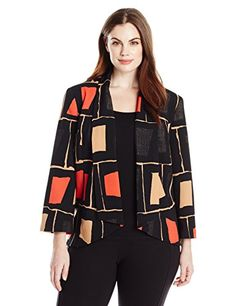 Nine West Womens PlusSize Printed Open Jacket Poppy Multi 14W * Check this awesome product by going to the affiliate link Amazon.com at the image.