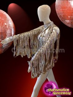 Bold Gold And Silver Sequined Leotard With Tasseled Long Sleeves Drag Queen Costumes, Tax Payment, Latin Dance Dresses, Silver Wings, Bold Stripes, Black Feathers, Your Turn, Dance Wear, Leotards