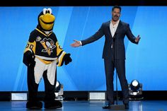 Joe Manganiello Photos Photos - Mascot Iceburgh of the Pittsburgh Penguins talks with host Joe Manganiello during the 2017 NHL Awards and Expansion Draft at T-Mobile Arena on June 21, 2017 in Las Vegas, Nevada. - 2017 NHL Awards