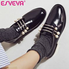 low cost 6d984 1156c Cheap women pumps, Buy Quality med heels directly from China black women  shoes Suppliers  ESVEVA 2017 Fashion Beading Spring Fall Shoes Square Med  Heel ...