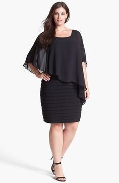 Chiffon Overlay Shutter Pleat Sheath Dress (Plus Size)