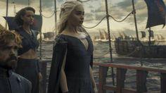 Peter Dinklage, Nathalie Emmanuel y Emilia Clarke, en la sexta temporada de 'Juego de tronos'.