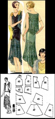 1929 Beyer's Modenblatt evening dress http://realhistoricalpatterns.tumblr.com/post/50927677612/1929-beyers-modenblatt-evening-dress-from