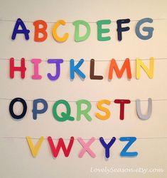 rainbow+nursery+decor | Alphabets Garland in rainbow colors- Nursery decor- Playroom learning ...