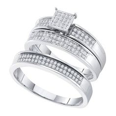 New BrianG | Micro Pave Diamond Engagement Collection 10k White Gold 0.33 Cttw Diamond Miro-pave Wedding Band Engagement Ring Trio Set