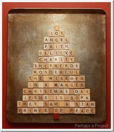 Have you seen those printable trees that have Christmas word in different fonts to create the shape? Of course I thought scrabble tiles c. Scrabble Letter Crafts, Scrabble Ornaments, Scrabble Wall Art, Scrabble Tiles, Scrabble Coasters, Christmas Words, Christmas Art, Christmas Projects, Christmas Holidays