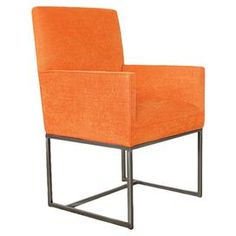 """Featuring a midcentury silhouette and vibrant orange upholstery, this eye-catching arm chair makes a stunning focal point in your living room or library.  Product: ChairConstruction Material: Alder wood and fabricColor: OrangeDimensions: 39"""" H x 23"""" W x 24"""" D"""