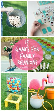 15 Family Reunion Game Ideas - Lil' Luna Fun games for a family reunion or other party!<br> 15 Family Reunion Game Ideas ranging from outdoor fun, to guessing games, there are activities for all ages! Family Reunion Activities, Family Games, Family Reunions, Family Family, Youth Activities, Group Games, Family Picnic Games, Family Reunion Decorations, Family Reunion Food