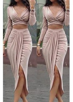 Two Piece Dresses With Cheap Wholesale Prices Online Tight Crop Top, Long Sleeve Crop Top, Crop Tops, Two Piece Dress, Two Piece Outfit, Sexy Dresses, Cute Dresses, Long Tight Dresses, Dress Long