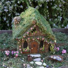 Rose Cottage Fairy House by enchantedgardens on Etsy