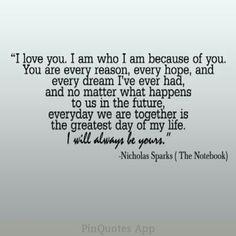 I love Nicholas Sparks