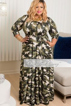 Plus Size Long Sleeve Pocket Gown in Camoflauge – Chic And Curvy
