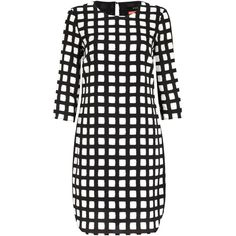 Oui Windowpane Check Dress, Black/White ($86) ❤ liked on Polyvore featuring dresses, round neck dress, elbow sleeve dress, day to night dresses, black and white dress y sleeve dress