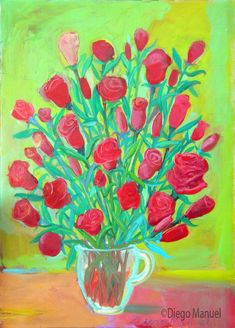 """Rosas rojas 2 "", acrylic on canvas , 44 x 60 cm. 2016."