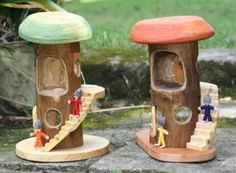 little gnome houses-use canisters and pot lids
