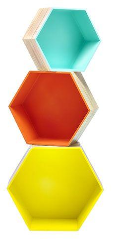 General Eclectic-Display Shelves-Hexagon Box Shelf Set {Bright} Box Shelves, Display Shelves, Wall Shelves, Shelving, Craft Show Displays, Display Boxes, Store Displays, Hexagon Wall Shelf, Hexagon Box
