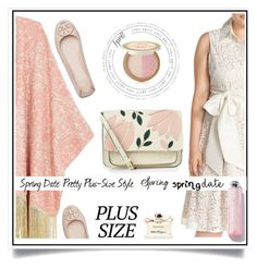 """""""Spring Date: Pretty Plus-Size Style"""" by ewa-naukowicz-wojcik ❤ liked on Polyvore featuring Eliza J, Melissa McCarthy Seven7, Accessorize, Tory Burch, Too Faced Cosmetics, Salvatore Ferragamo, springdate and plus size clothing"""