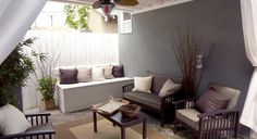 This is a great idea, if you have a porch. It's all screened in with fabric! #backyard #patio #ideas